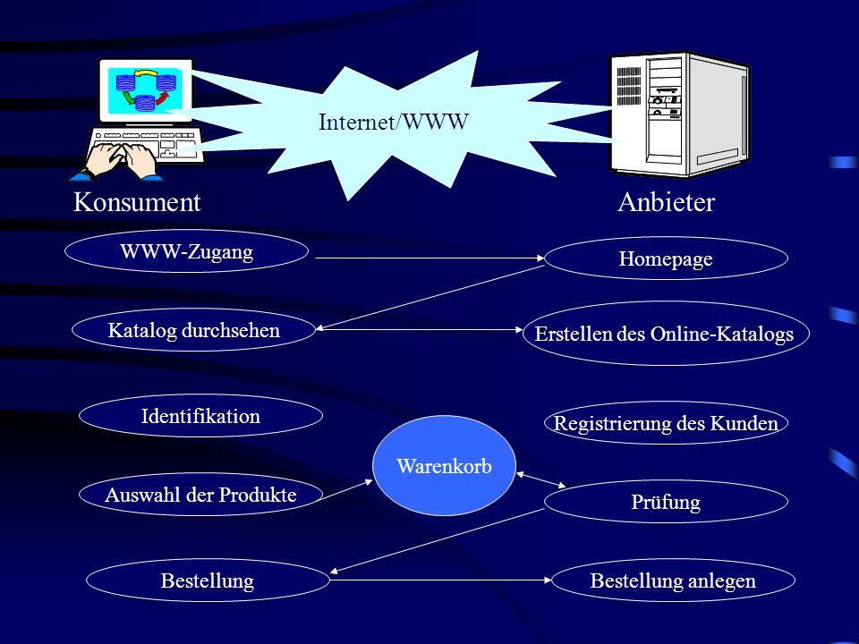 Konsument Anbieter Internet/WWW WWW-Zugang Homepage