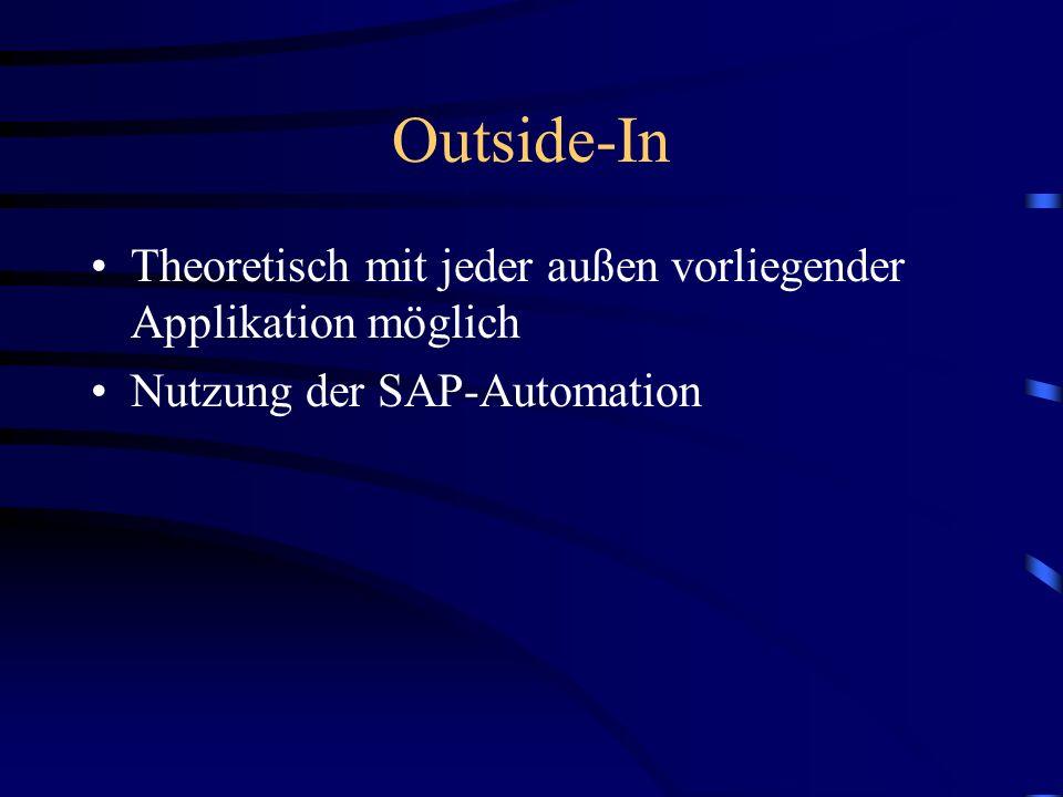 Outside-In Theoretisch mit jeder außen vorliegender Applikation möglich Nutzung der SAP-Automation
