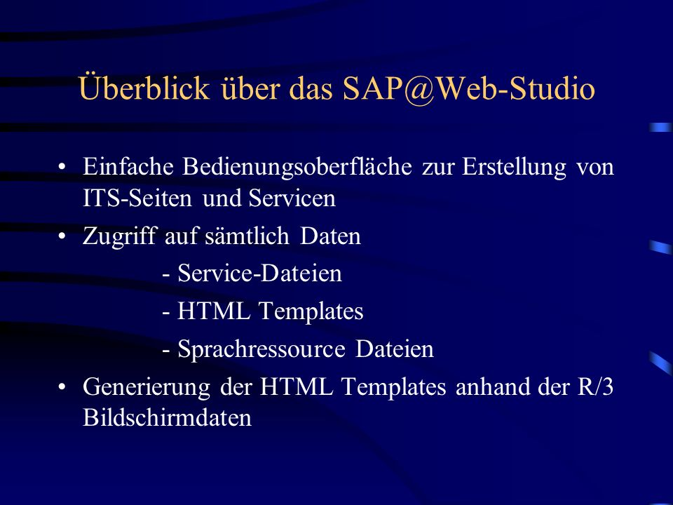 Überblick über das SAP@Web-Studio
