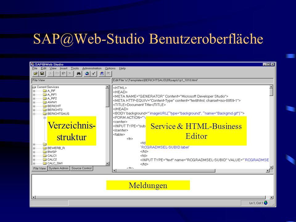 SAP@Web-Studio Benutzeroberfläche
