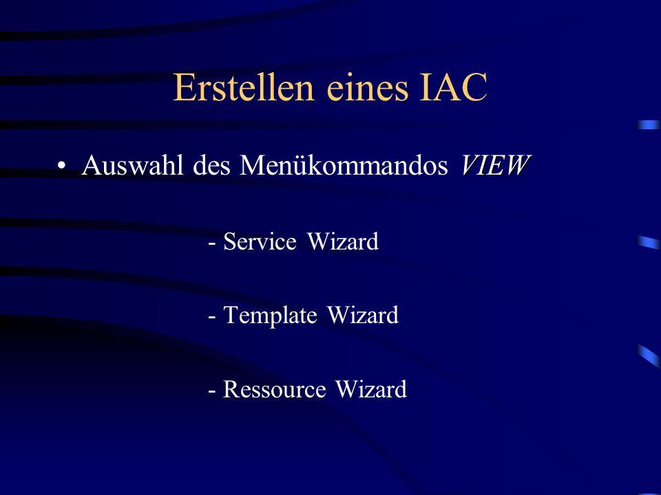 Erstellen eines IAC Auswahl des Menükommandos VIEW - Template Wizard