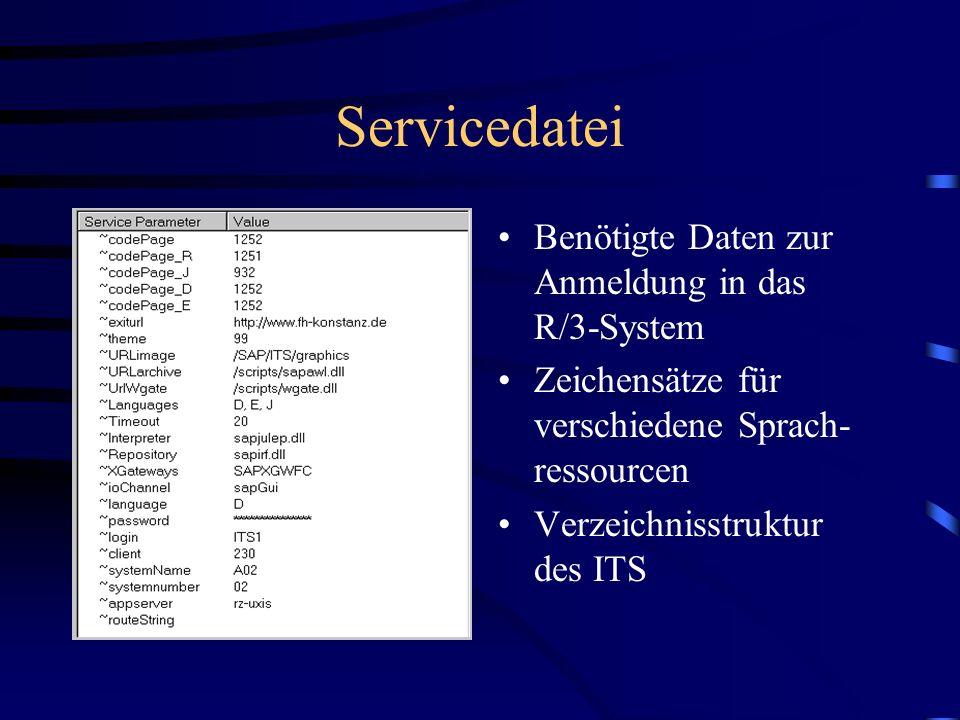 Servicedatei Benötigte Daten zur Anmeldung in das R/3-System