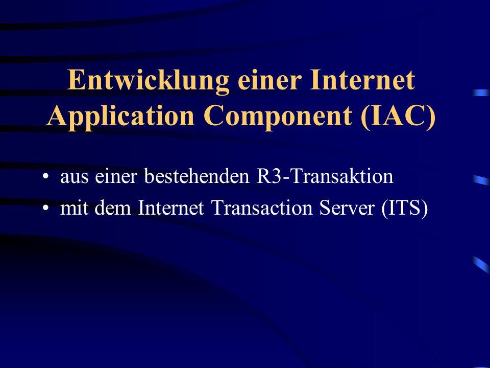 Entwicklung einer Internet Application Component (IAC)