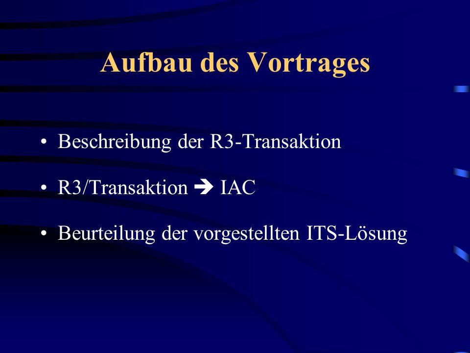 Aufbau des Vortrages Beschreibung der R3-Transaktion