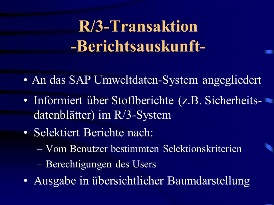 R/3-Transaktion -Berichtsauskunft-