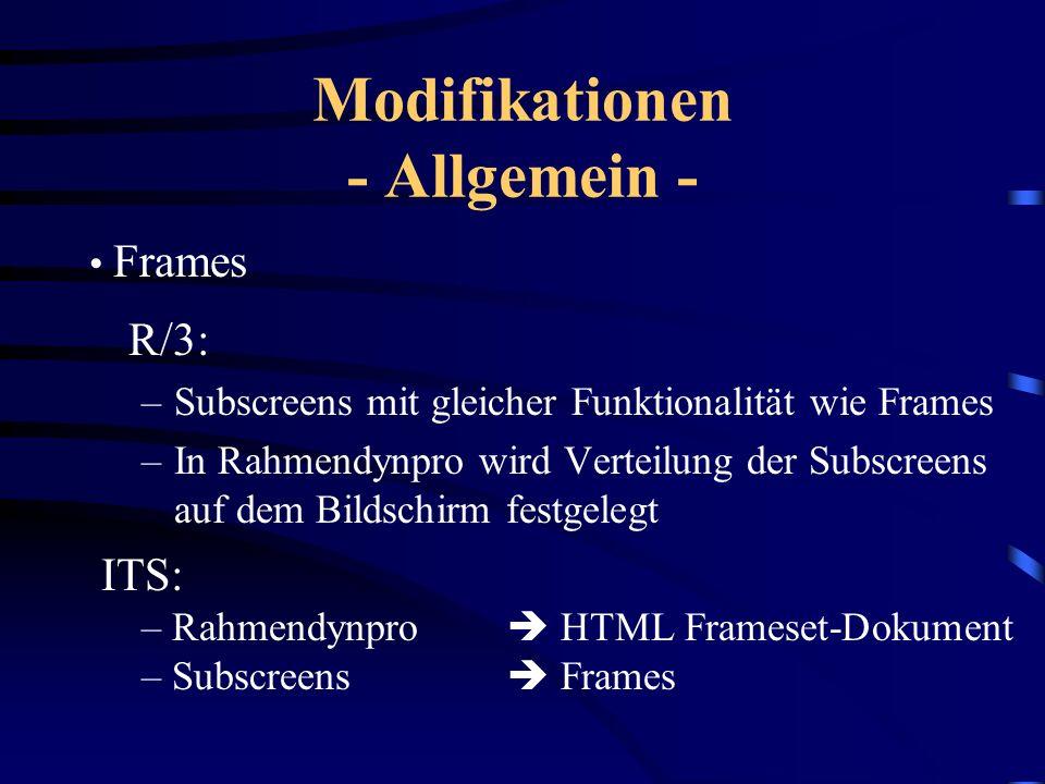 Modifikationen - Allgemein -