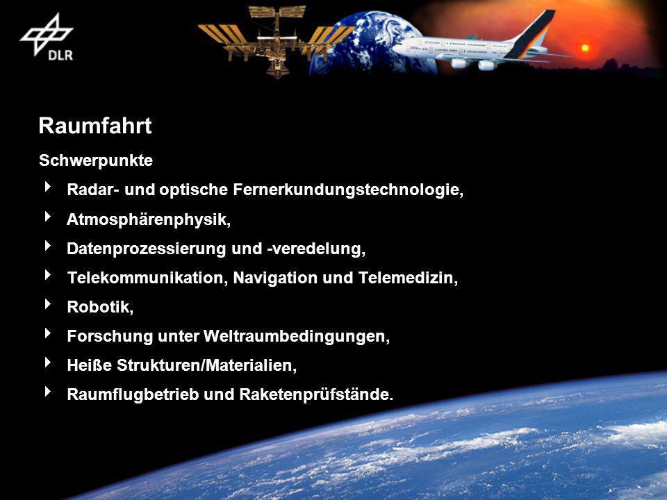 Raumfahrt Schwerpunkte Radar- und optische Fernerkundungstechnologie,