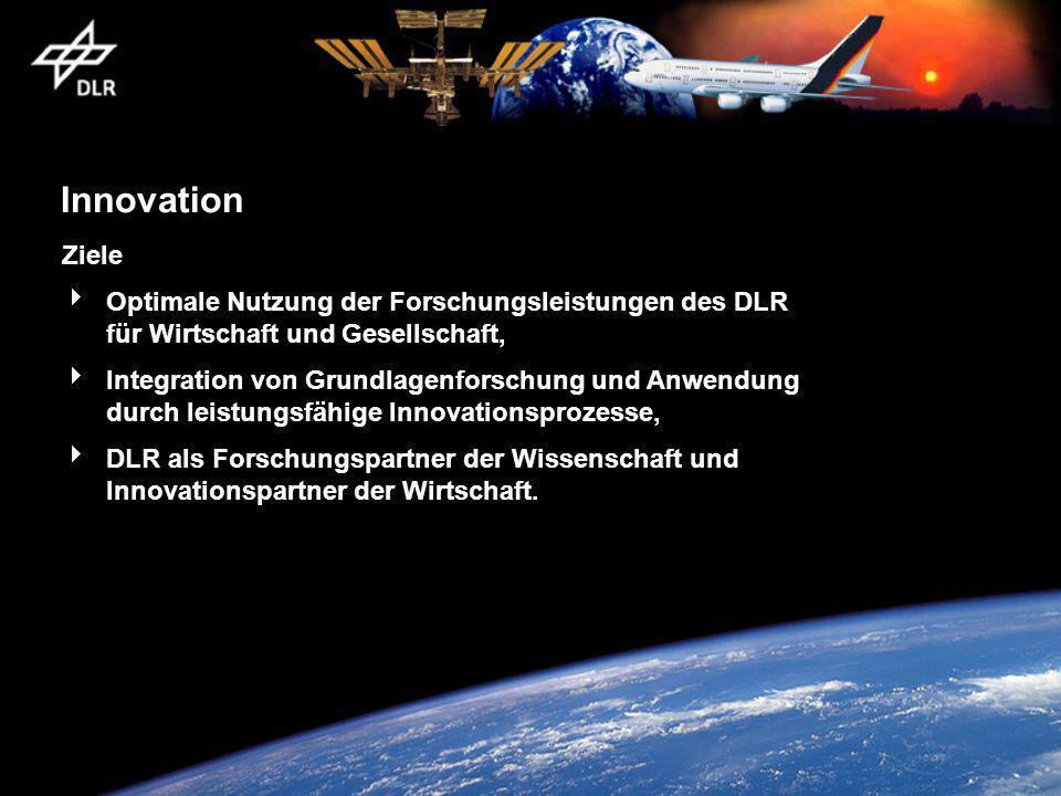 Innovation Ziele. Optimale Nutzung der Forschungsleistungen des DLR für Wirtschaft und Gesellschaft,