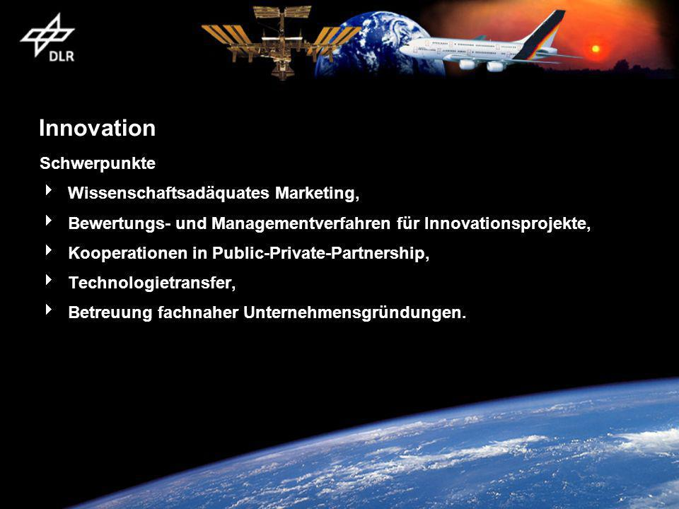 Innovation Schwerpunkte Wissenschaftsadäquates Marketing,