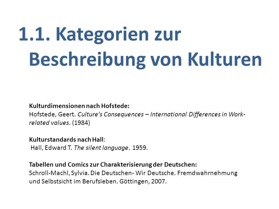 1.1. Kategorien zur Beschreibung von Kulturen