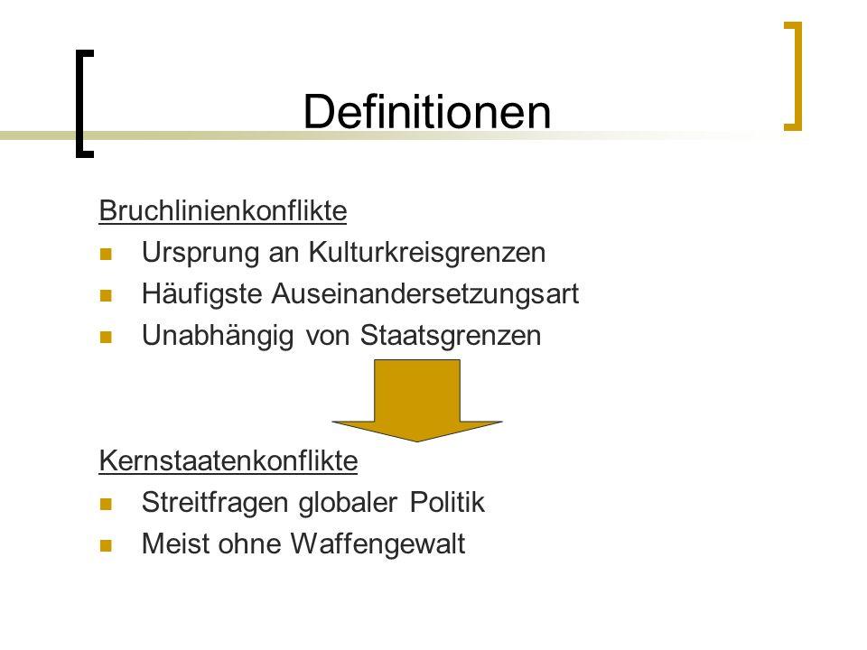 Definitionen Bruchlinienkonflikte Ursprung an Kulturkreisgrenzen