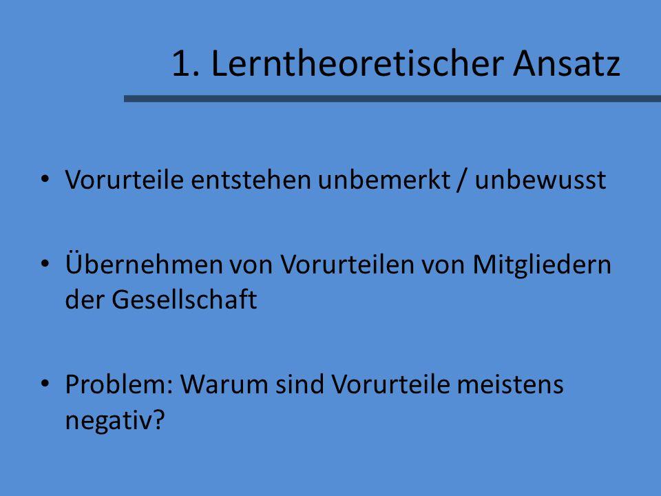 1. Lerntheoretischer Ansatz