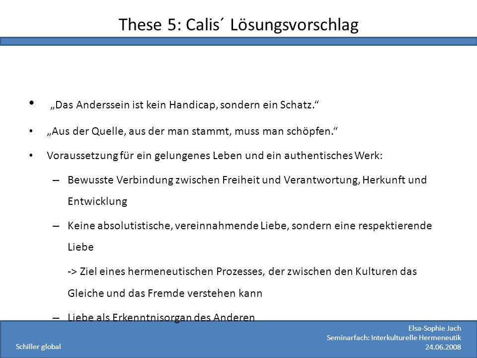 These 5: Calis´ Lösungsvorschlag