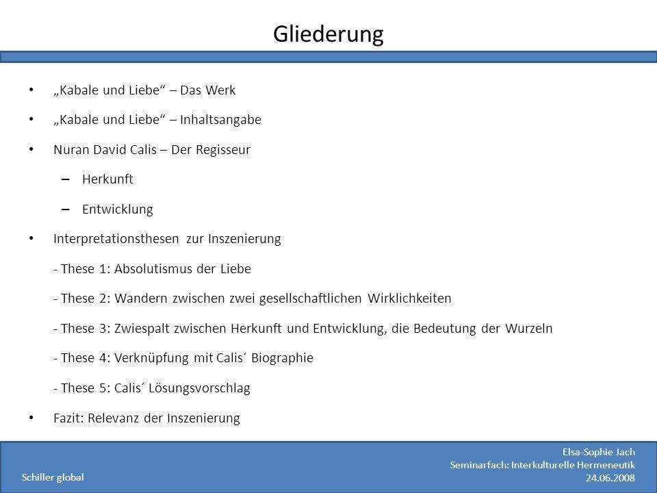 """Gliederung """"Kabale und Liebe – Das Werk"""