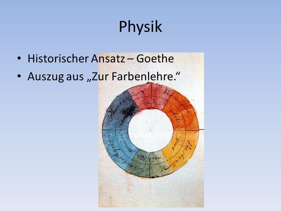 """Physik Historischer Ansatz – Goethe Auszug aus """"Zur Farbenlehre."""
