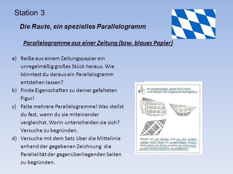 Station 3 Die Raute, ein spezielles Parallelogramm