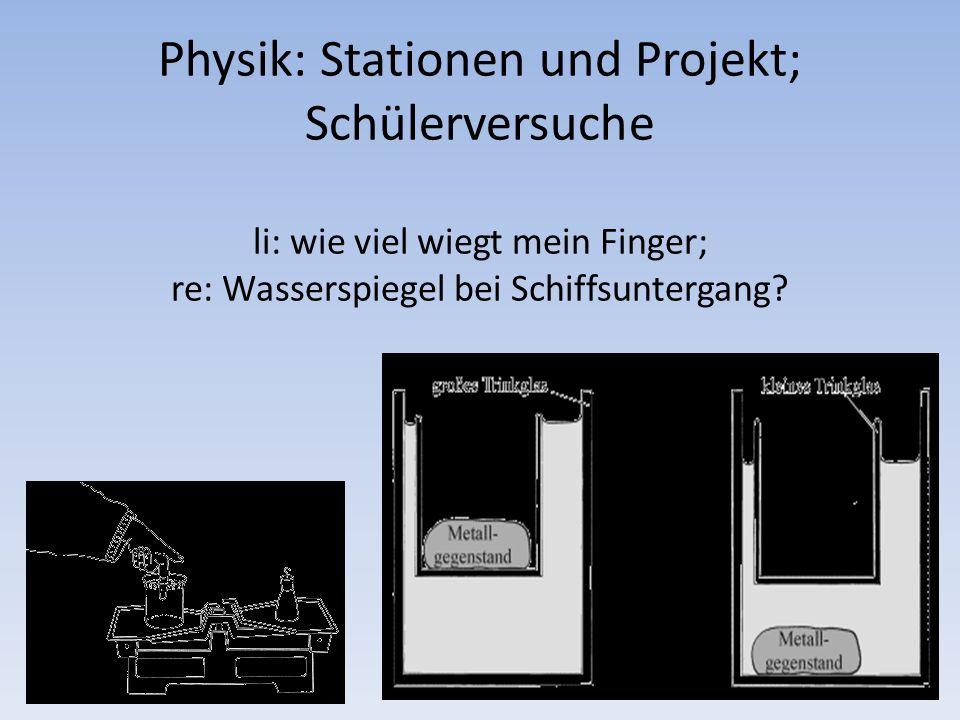 Physik: Stationen und Projekt; Schülerversuche li: wie viel wiegt mein Finger; re: Wasserspiegel bei Schiffsuntergang