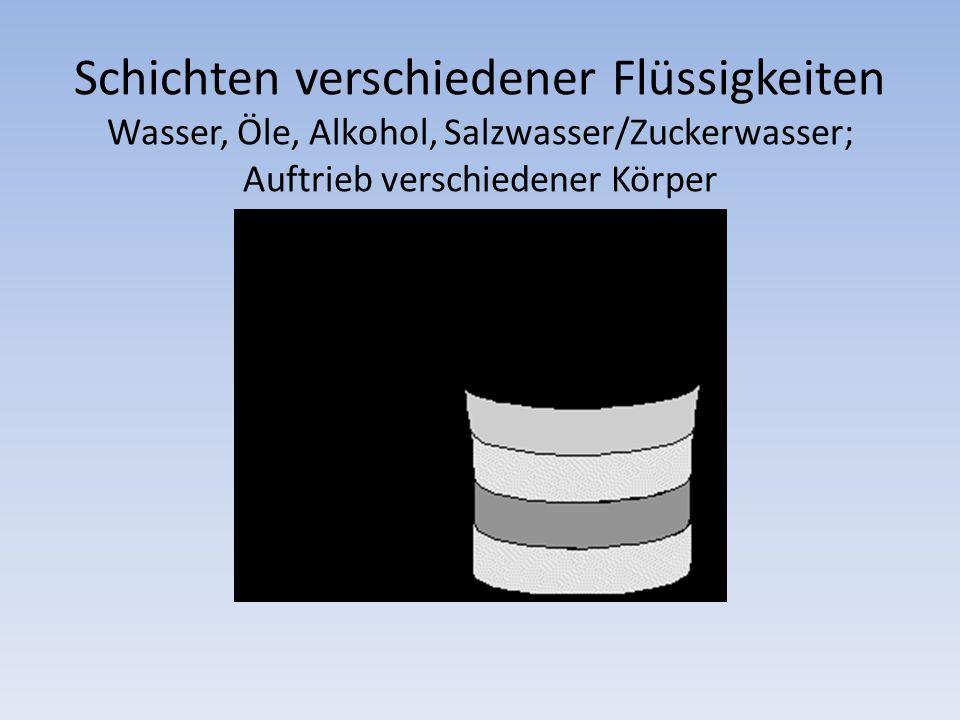 Schichten verschiedener Flüssigkeiten Wasser, Öle, Alkohol, Salzwasser/Zuckerwasser; Auftrieb verschiedener Körper