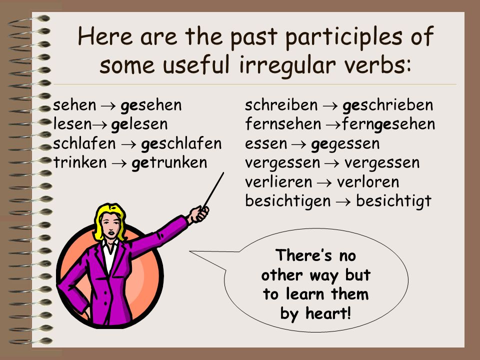 Here are the past participles of some useful irregular verbs: