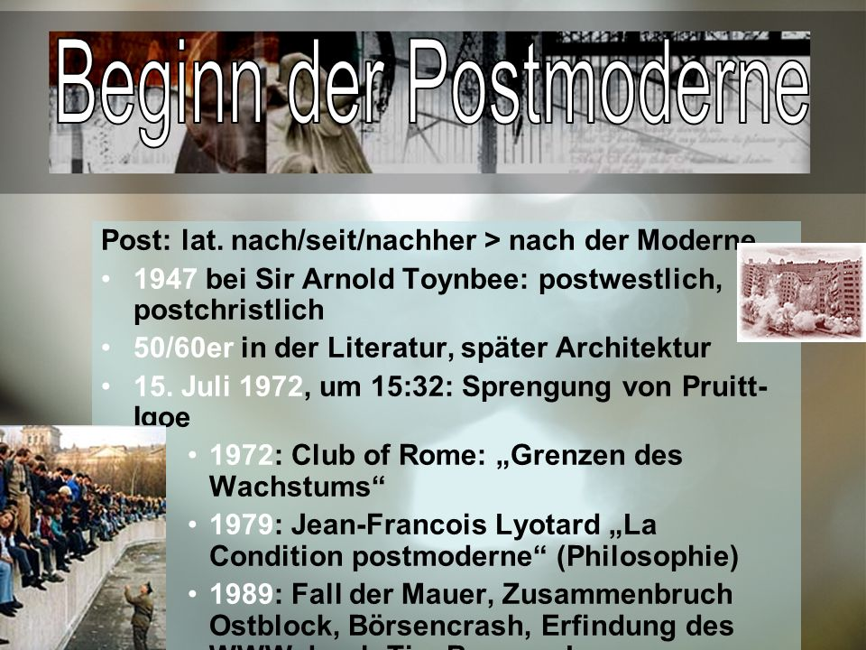 Beginn der Postmoderne