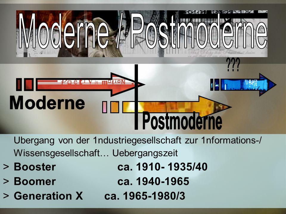 Moderne / Postmoderne Moderne Postmoderne