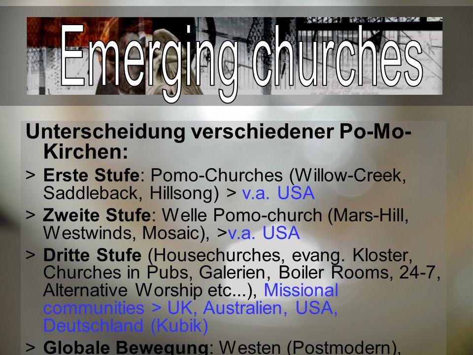 Emerging churches Unterscheidung verschiedener Po-Mo-Kirchen: