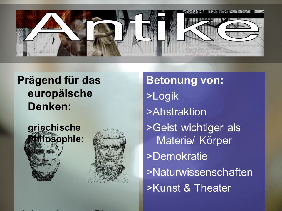 Antike Prägend für das europäische Denken: Aristoteles Platon