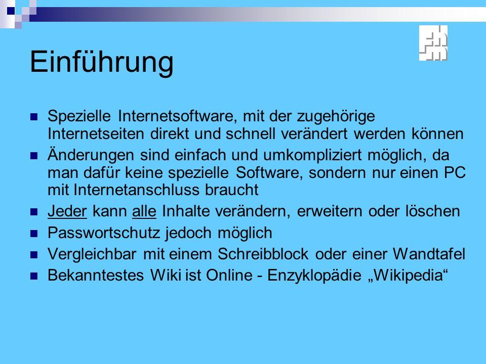 Einführung Spezielle Internetsoftware, mit der zugehörige Internetseiten direkt und schnell verändert werden können.