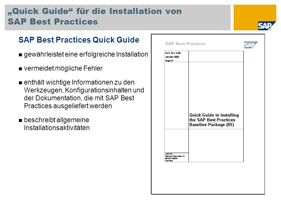 """Quick Guide für die Installation von SAP Best Practices"