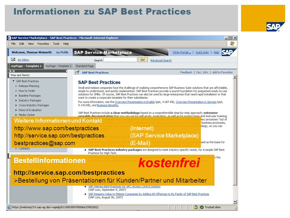 Informationen zu SAP Best Practices