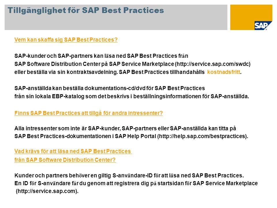 Tillgänglighet för SAP Best Practices