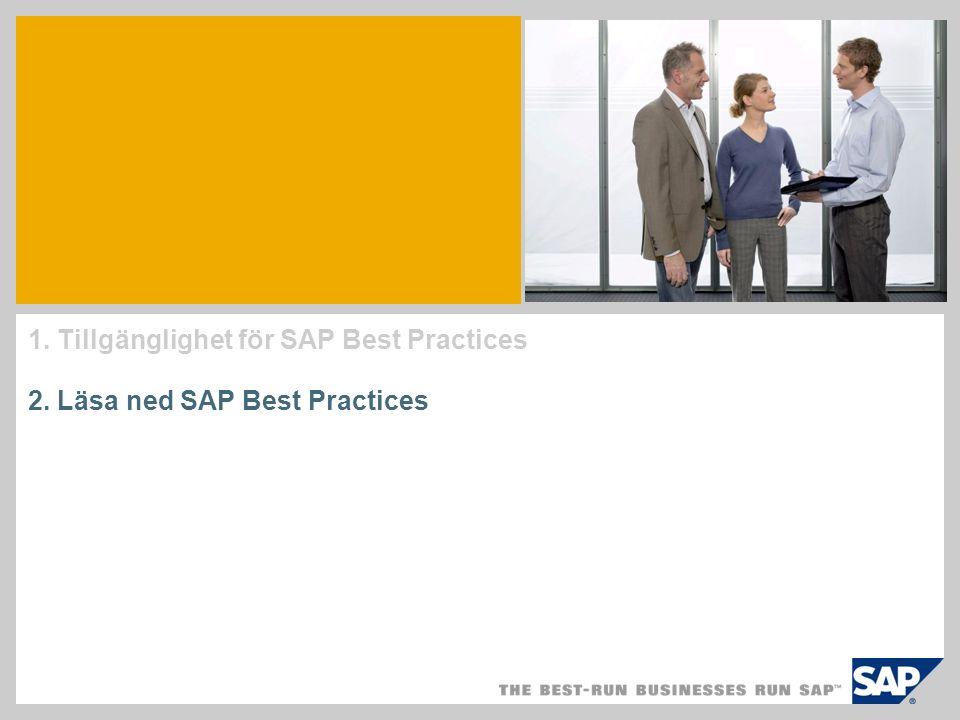 1. Tillgänglighet för SAP Best Practices