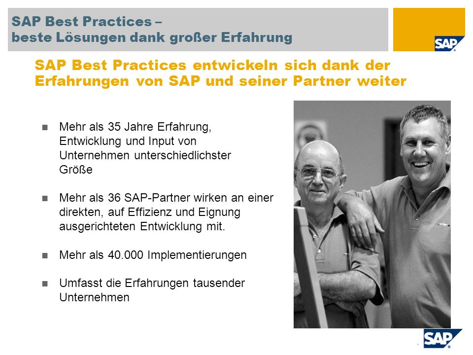 SAP TechEd '04 SAP Best Practices – beste Lösungen dank großer Erfahrung.