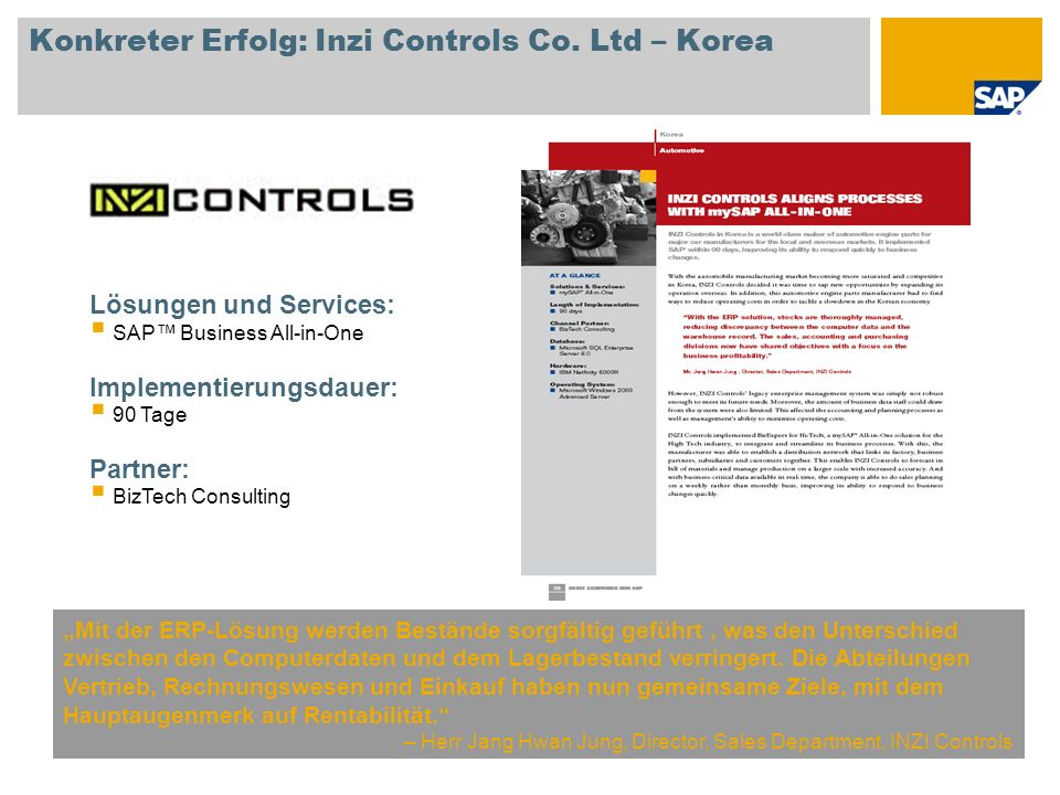 Konkreter Erfolg: Inzi Controls Co. Ltd – Korea