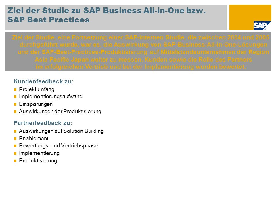 Ziel der Studie zu SAP Business All-in-One bzw. SAP Best Practices