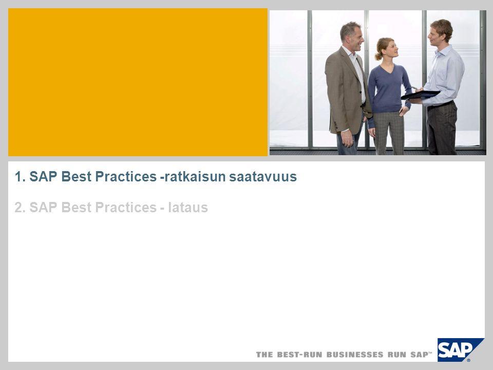 1. SAP Best Practices -ratkaisun saatavuus