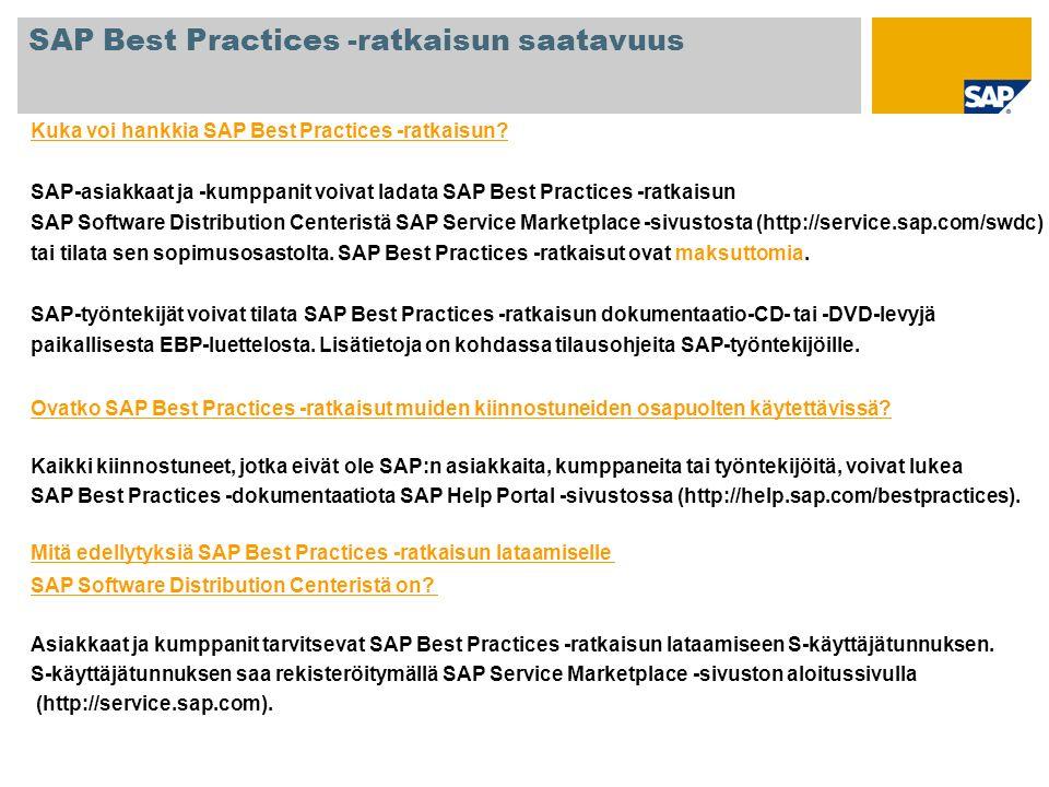 SAP Best Practices -ratkaisun saatavuus
