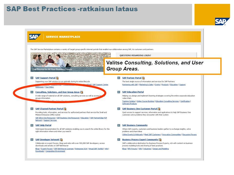 SAP Best Practices -ratkaisun lataus