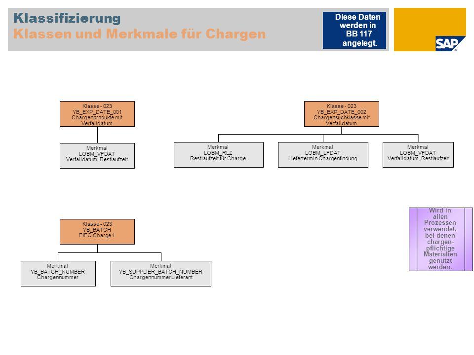 Klassifizierung Klassen und Merkmale für Chargen