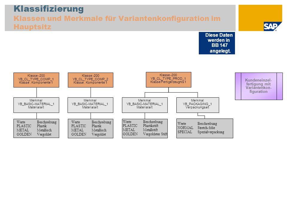 Klassifizierung Klassen und Merkmale für Variantenkonfiguration im Hauptsitz