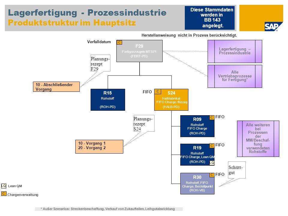Lagerfertigung - Prozessindustrie Produktstruktur im Hauptsitz