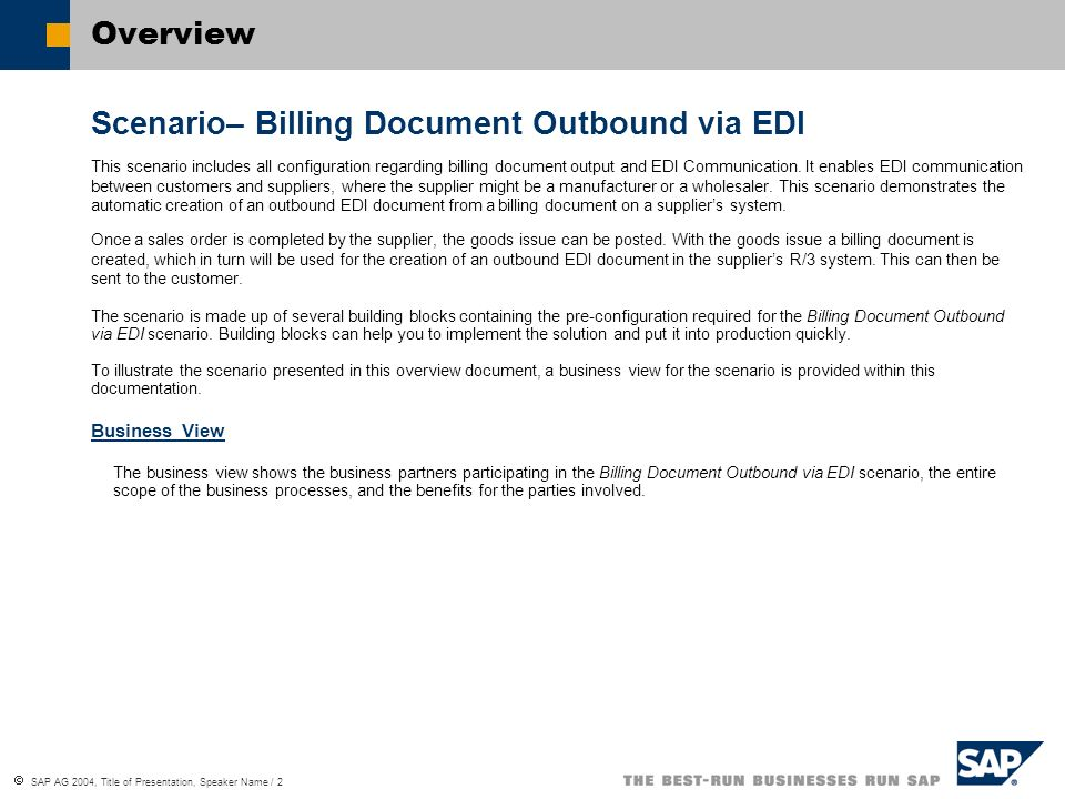 Scenario– Billing Document Outbound via EDI