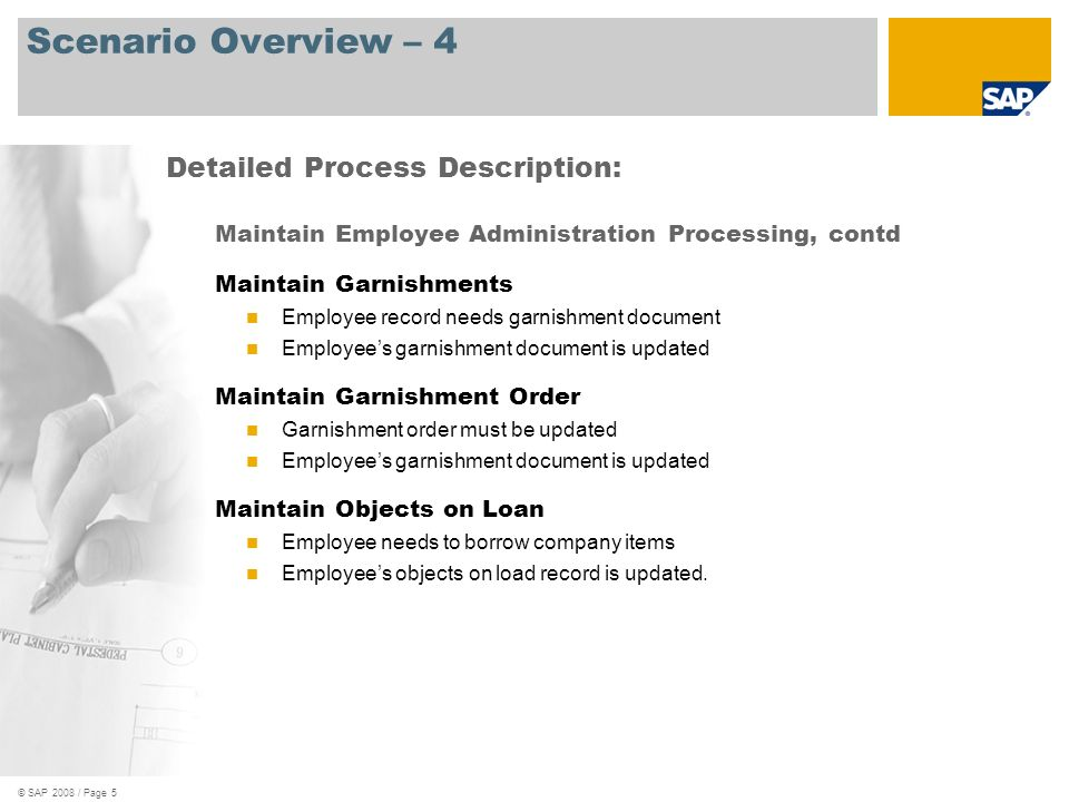 Scenario Overview – 4 Detailed Process Description: