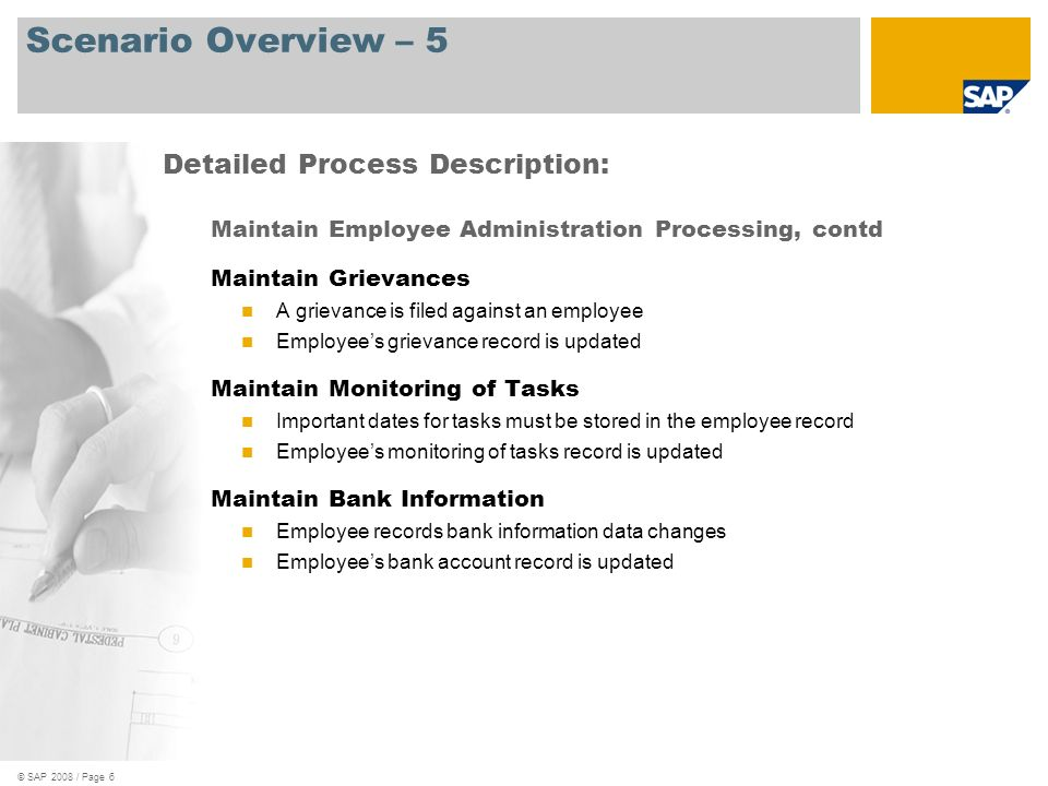 Scenario Overview – 5 Detailed Process Description: