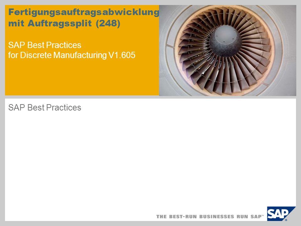 Fertigungsauftragsabwicklung mit Auftragssplit (248) SAP Best Practices for Discrete Manufacturing V1.605
