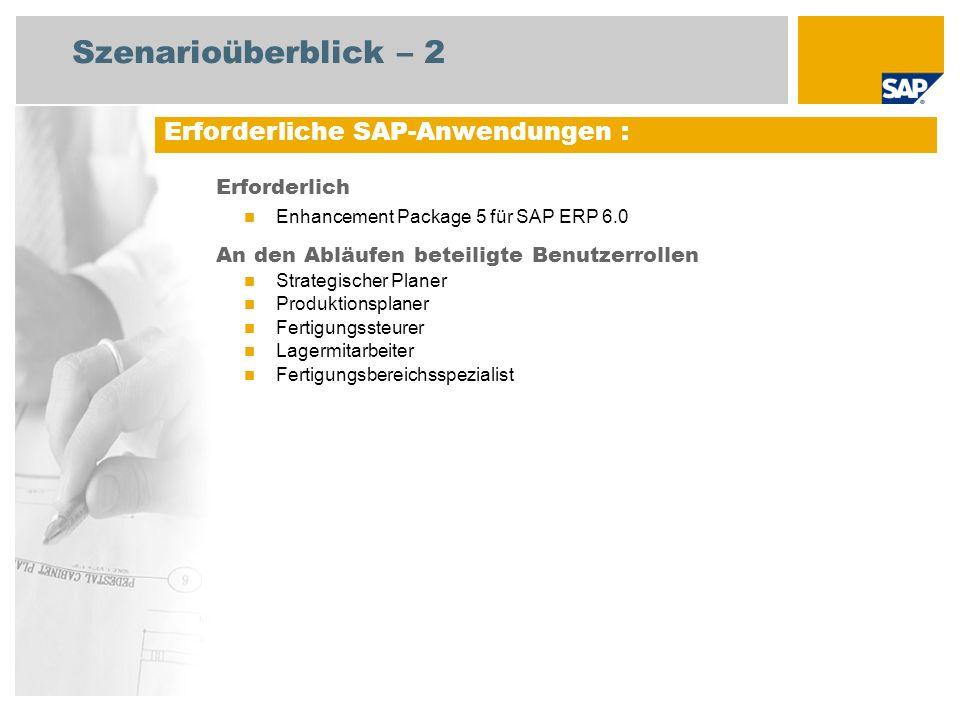 Szenarioüberblick – 2 Erforderliche SAP-Anwendungen : Erforderlich