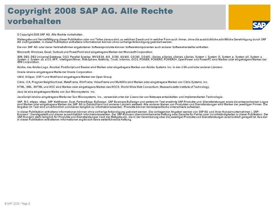 Copyright 2008 SAP AG. Alle Rechte vorbehalten