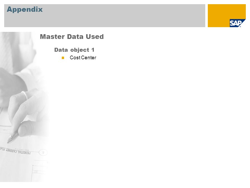 Appendix Master Data Used Data object 1 Cost Center