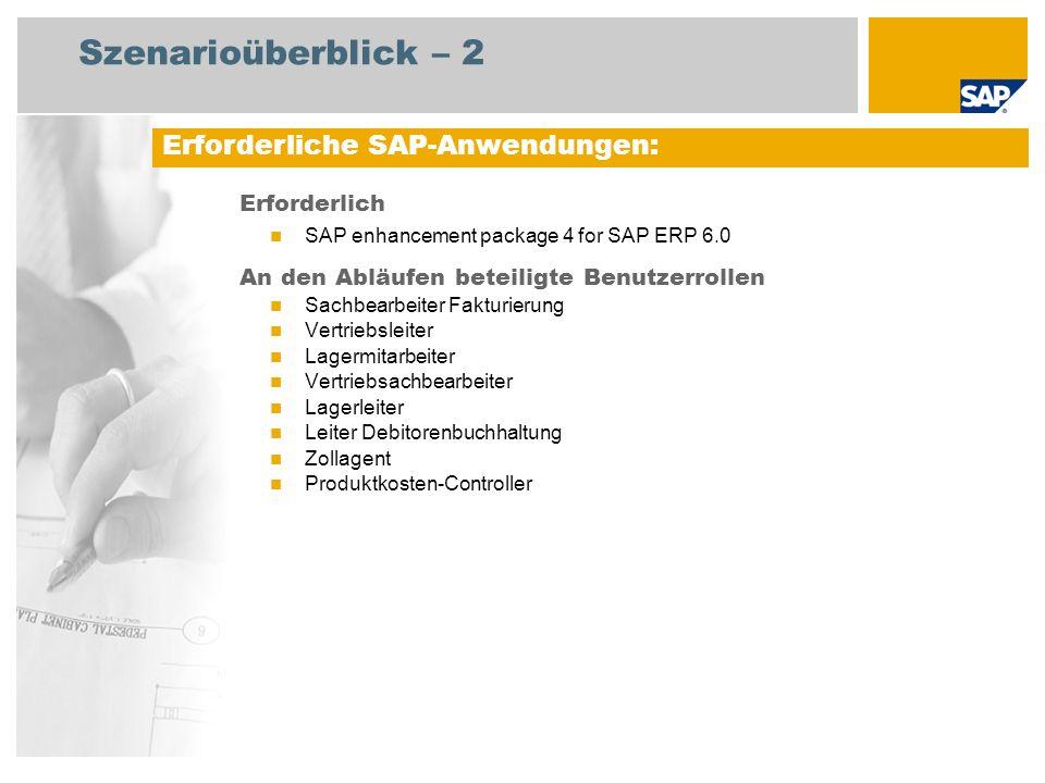 Szenarioüberblick – 2 Erforderliche SAP-Anwendungen: Erforderlich