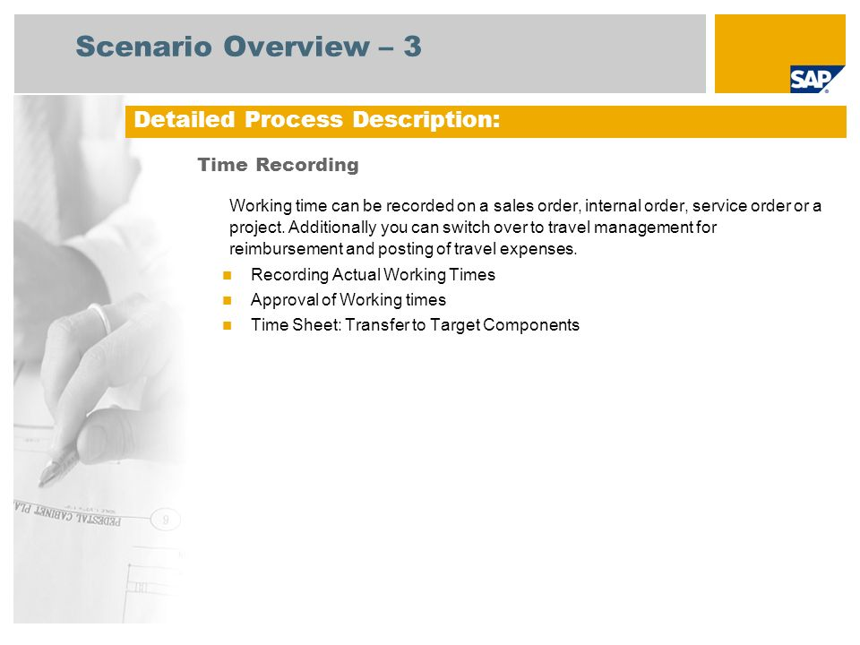 Scenario Overview – 3 Detailed Process Description: Time Recording
